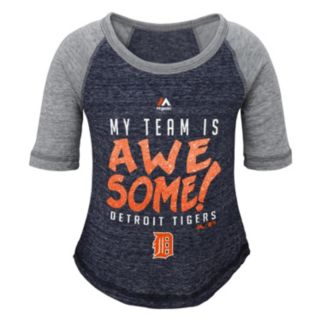 Girls 4-6x Majestic Detroit Tigers My Team Is Awesome Tee
