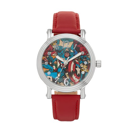 Marvel Comics Captain America Women's Leather Watch
