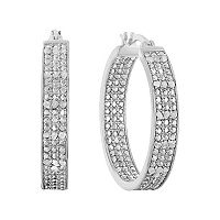 Sterling Silver 1/2 Carat T.W. Diamond Inside-Out Hoop Earrings