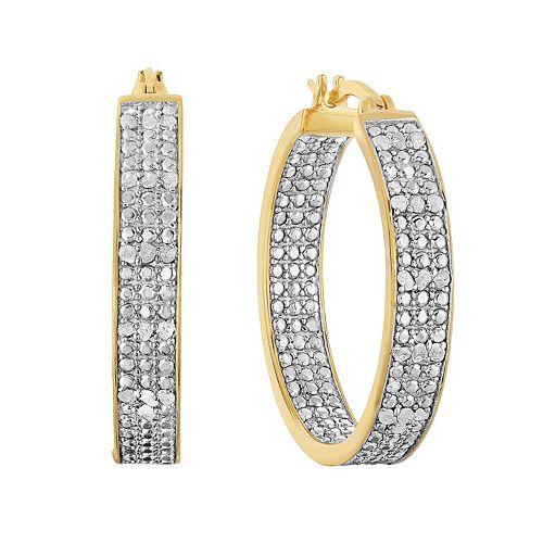 Sterling Silver 1/2 Carat T.W. Diamond Inside-Out Hoop Earrings