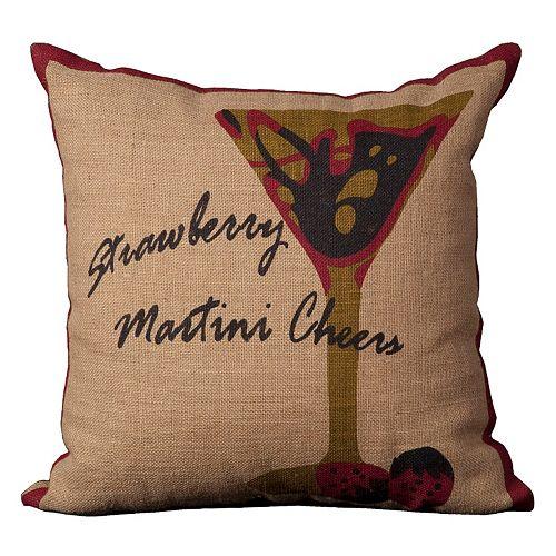 Mina Victory Lifestyles Strawberry Martini Throw Pillow