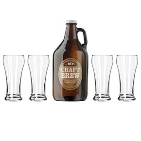 "Libbey ""My Craft Brew"" 5-pc. Beer Growler & Pilsner Glass Set"
