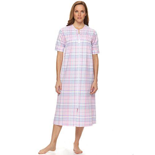 62e7d1d677 Women s Miss Elaine Essentials Seersucker Long Zip Sleepr Robe