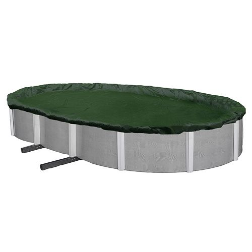Blue Wave Silver-Grade Oval Above-Ground Winter Pool Cover for 12-ft. x 20-ft. Pool