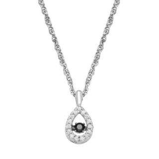 Dancing LoveSterling Silver 1/10 Carat T.W. Black & White Diamond Teardrop Pendant Necklace