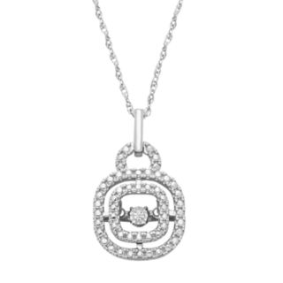 Dancing LoveSterling Silver Diamond Accent Halo Pendant Necklace