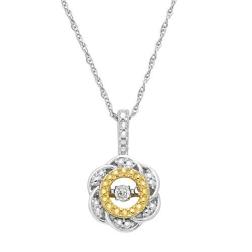 Dancing Love Two Tone Sterling Silver Diamond Accent Flower Pendant Necklace