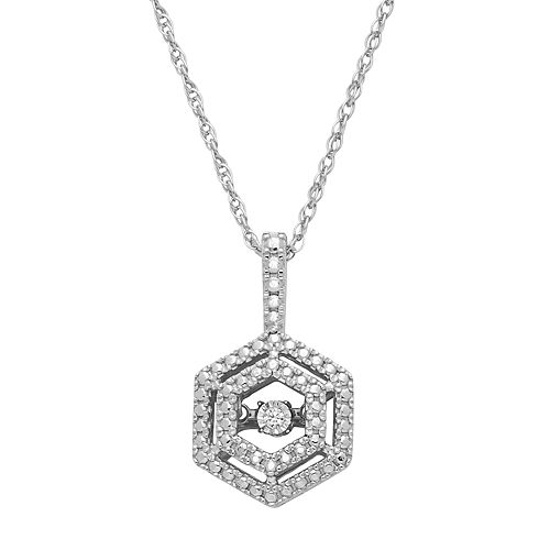 Dancing Love Sterling Silver Diamond Accent Hexagon Halo Pendant Necklace