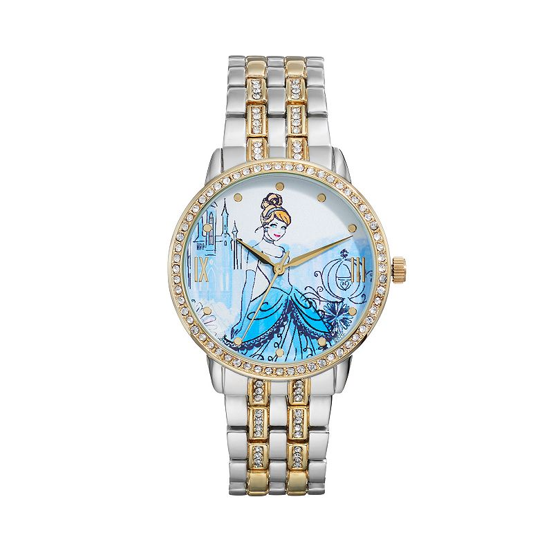 Disney Princess Cinderella Women's Crystal Two Tone Watch, multicolor