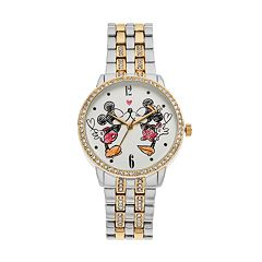 Disney's Mickey & Minnie Mouse Women's Crystal Two Tone Watch