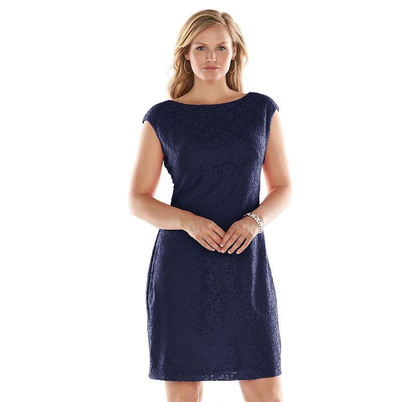 Plus Size Chaps Lace Sheath Dress