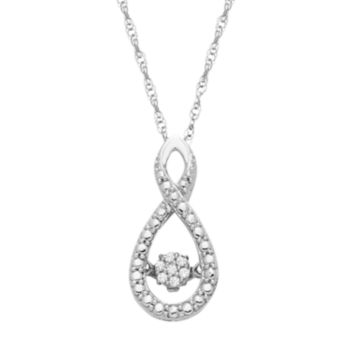 Dancing Love Sterling Silver Diamond Accent Infinity Pendant
