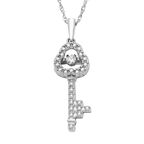 Dancing Love Sterling Silver Diamond Accent Key Pendant