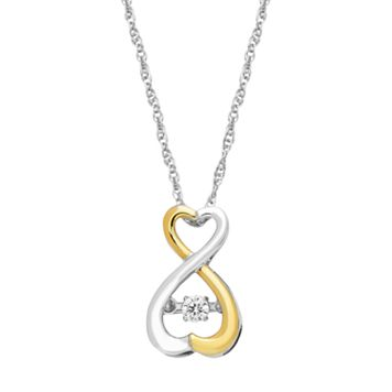 Dancing Love Two Tone Sterling Silver Diamond Accent Infinity Heart Pendant
