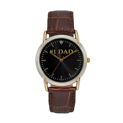 "Men's ""#1 Dad"" Leather Watch"
