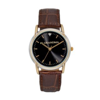 "Women's ""#1 Grandma"" Leather Watch"