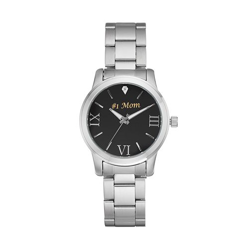 "Women's ""#1 Mom"" Stainless Steel Watch"