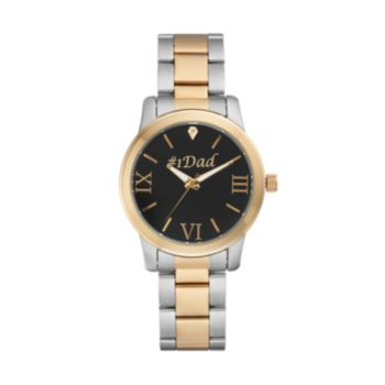 "Men's ""#1 Dad"" Two Tone Stainless Steel Watch"