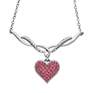 Artistique Sterling Silver Crystal Heart Necklace