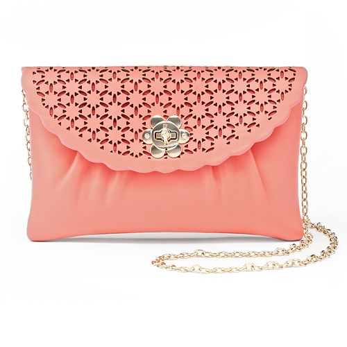 Lenore by La Regale Perforated Floral Envelope Clutch