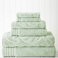 Pacific Coast Textiles 6-piece Jacquard Medallion Swirl & Solid Mix & Match Towel Set
