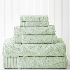 Pacific Coast Textiles 6 pc Jacquard Medallion Swirl & Solid Mix & Match Towel Set