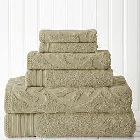 Pacific Coast Textiles 6-piece Jacquard Medallion Swirl & Solid Mix & Match Towel Set