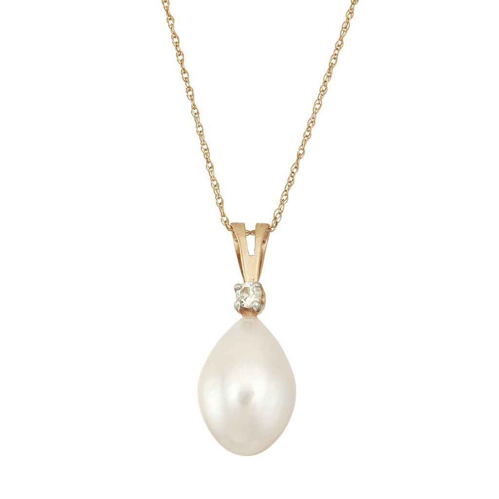 14k Gold Freshwater Cultured Pearl & Diamond Accent Pendant Necklace