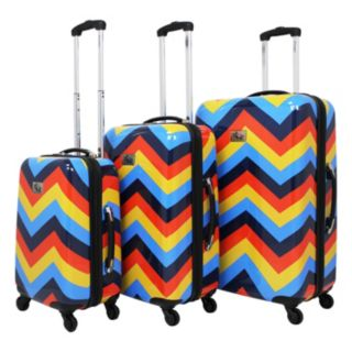 Chariot Chevron 3-Piece Hardside Spinner Luggage Set