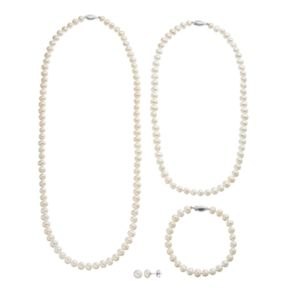 Freshwater Cultured Pearl Necklace, Bracelet & Stud Earring Set