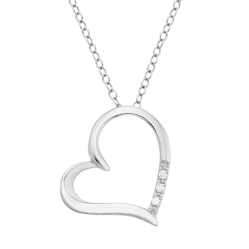 Sterling Silver Diamond Accent Heart Pendant Necklace