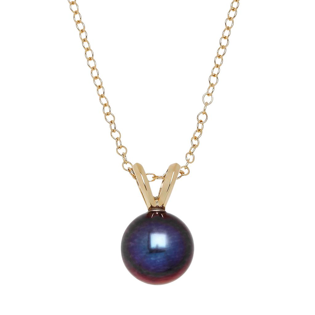 Freshwater by HONORA 10k Gold Dyed Freshwater Cultured Pearl Pendant