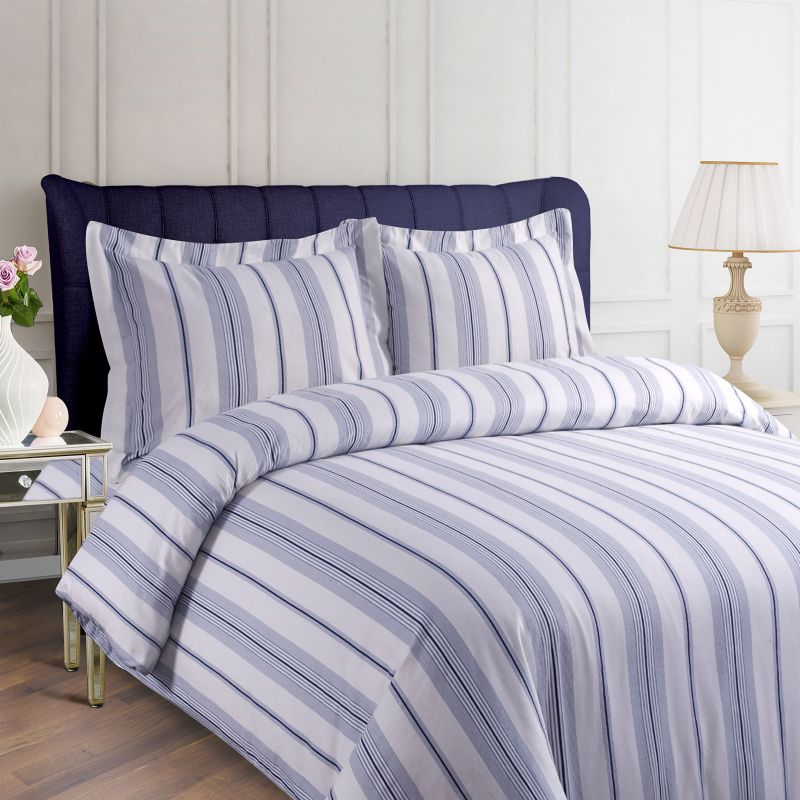 Printed Flannel 3 Piece Duvet Cover Set Blue Shop Your