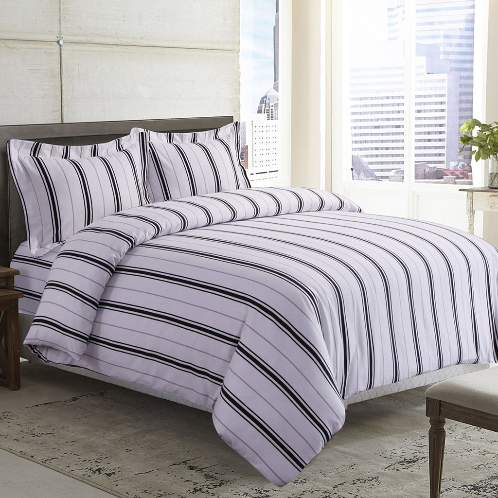 Printed Flannel 3-piece Striped Duvet Cover Set