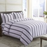 Printed Flannel 3 pc Striped Duvet Cover Set