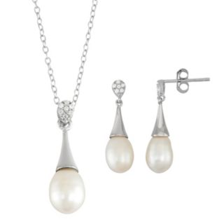 Sterling Silver Freshwater Cultured Pearl Pendant & Drop Earring Set