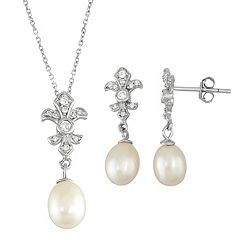 Sterling Silver Freshwater Cultured Pearl Fleur-de-Lis Pendant & Drop Earring Set