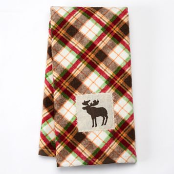 Celebrate Local Life Together Plaid Moose Kitchen Towel
