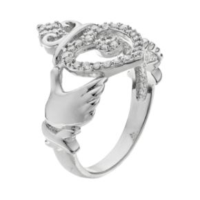 Sterling Silver 1/4 Carat T.W. Diamond Claddagh Ring