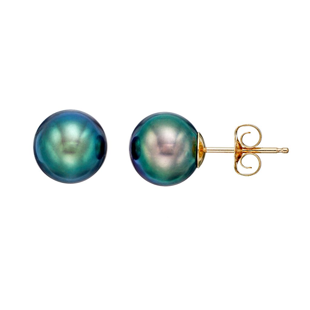 Freshwater by HONORA 10k Gold Dyed Freshwater Cultured Pearl Stud Earrings