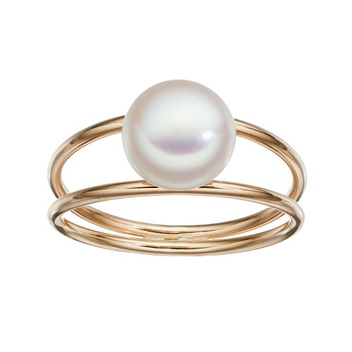 Freshwater by HONORA 10k Gold Dyed Freshwater Cultured Pearl Ring