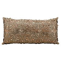 Mina Victory Saray Lazer Cut Leather Long Throw Pillow
