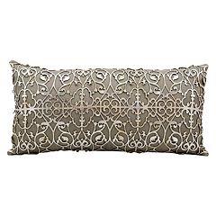 Mina Victory Saray Lazer Cut Leather Long Throw Pillow