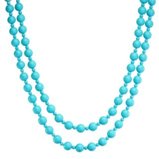 Sterling Silver Sea Blue Chalcedony Bead Necklace