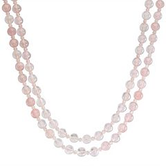 Sterling Silver Rose Quartz Bead Necklace
