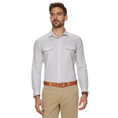 5bf2959eea0a3e Men's Marc Anthony Slim-Fit Linen-Blend Button-Down Shirt