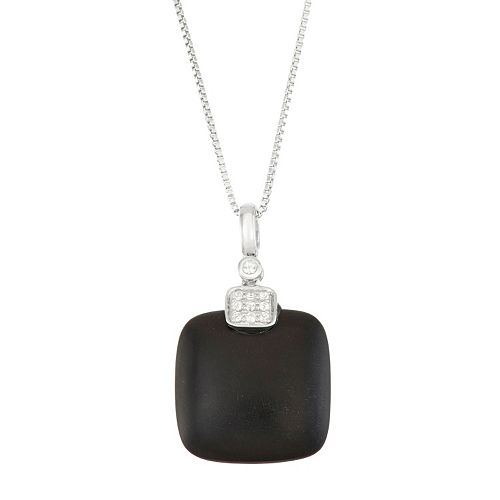 Sterling Silver Onyx & White Topaz Pendant Necklace