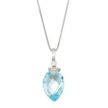 Sterling Silver Blue & White Topaz Pendant Necklace