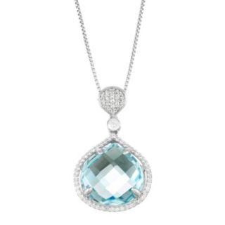 Sterling Silver Blue & White Topaz Pendant Necklace