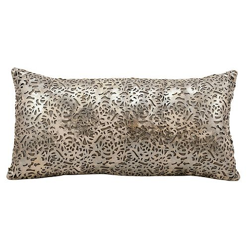 Mina Victory Graven Lazer Cut Leather Long Throw Pillow